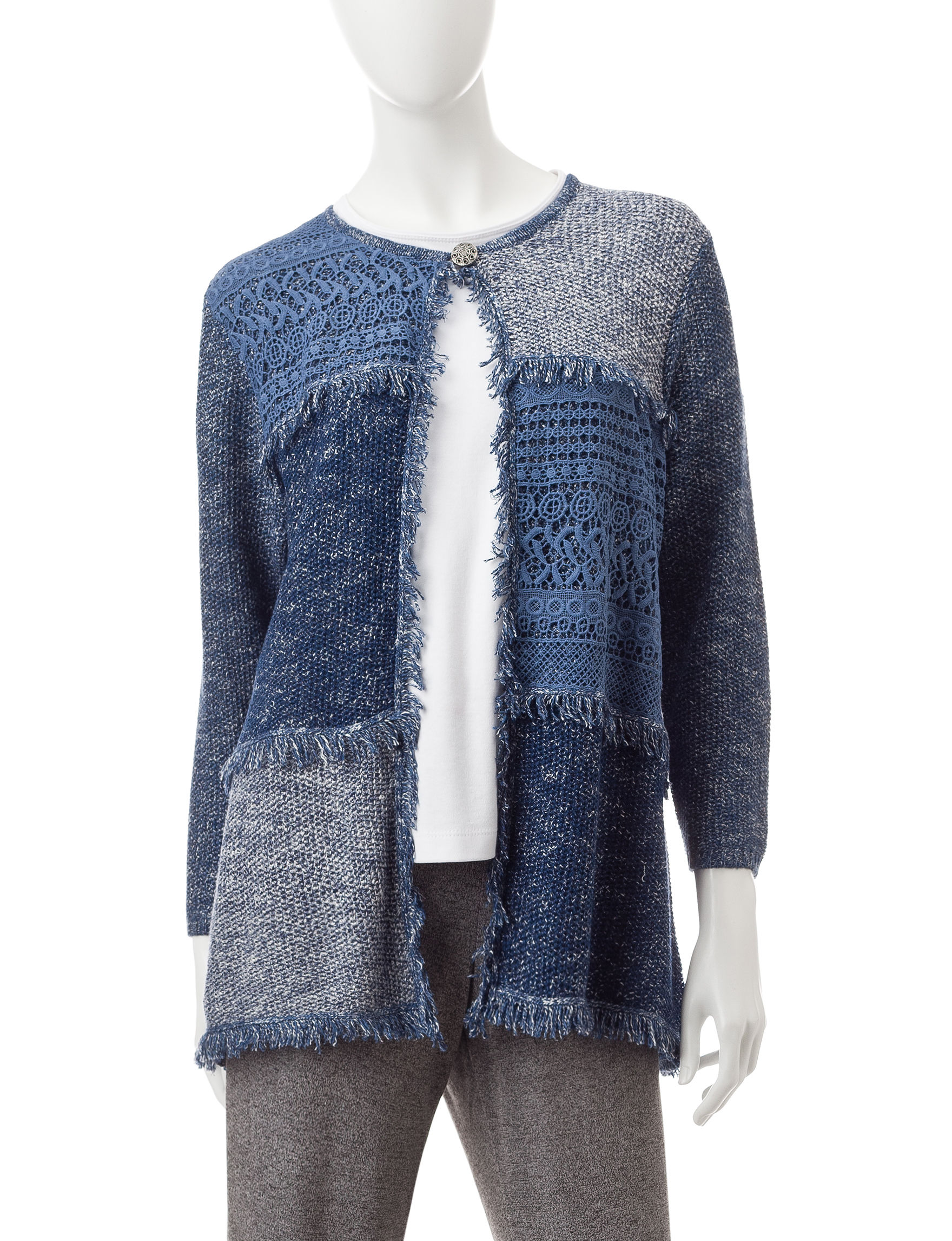 Alfred Dunner Navy Cardigans Sweaters