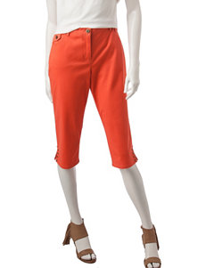 Hearts of Palm Orange Twill Capri Pants