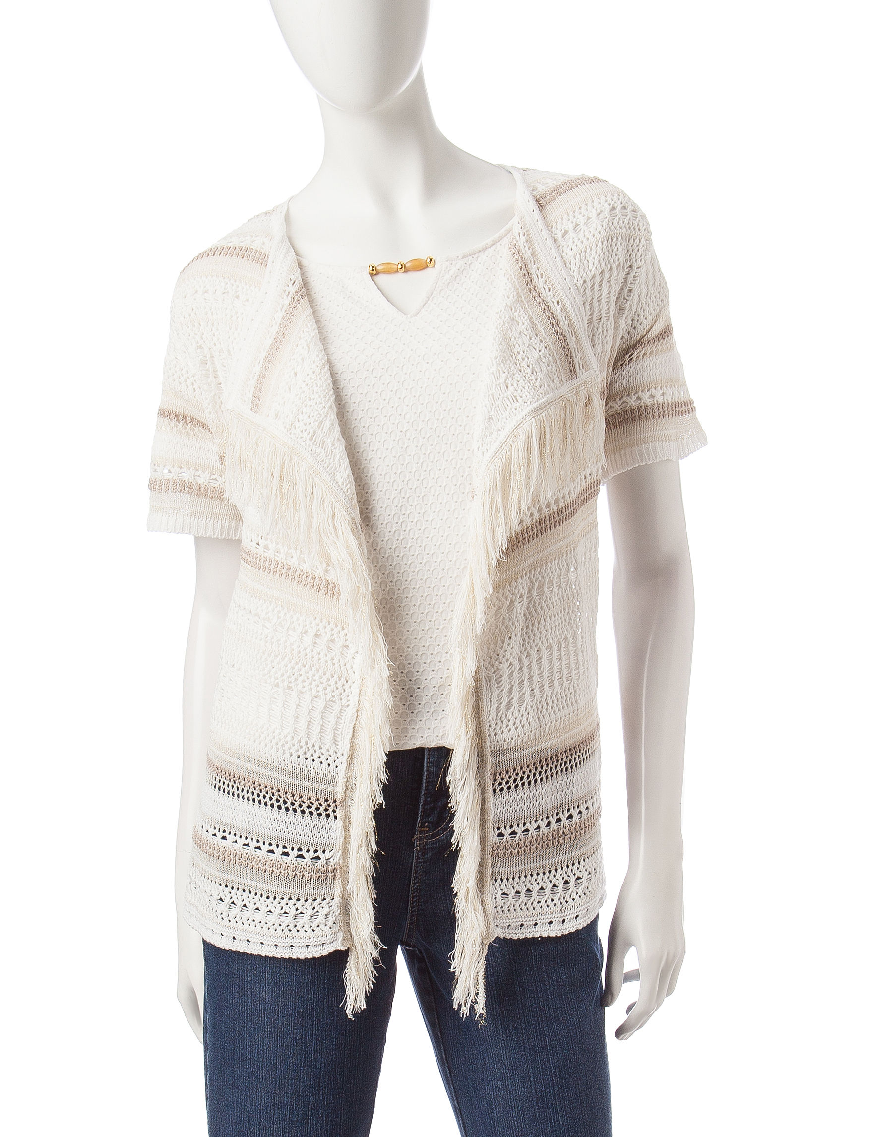 Hearts of Palm White Cardigans Sweaters
