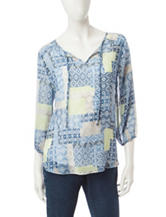 Hearts of Palm Tribal Print Peasant Top