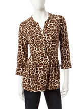 Rebecca Malone Cheetah Print Button Down Top