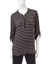 Rebecca Malone Striped Print Top