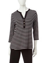 Rebecca Malone Striped Print Knit Top