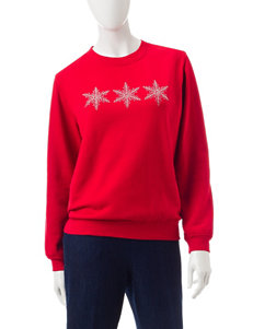 Rebecca Malone Snowflake Fleece Knit Top