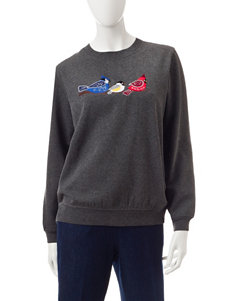 Rebecca Malone Embroidered Birds Fleece Sweater