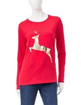 Rebecca Malone Glitter Reindeer Knit Top