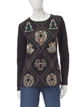 Rebecca Malone Jeweled Christmas Top
