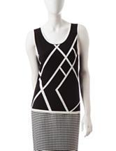 Kasper Black & White Asymmetrical Stipe Print Top