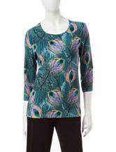 Rebecca Malone Peacock Print Knit Top