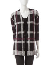 Kasper Multicolor Plaid Print Cardigan