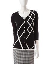 Kasper Black & White Asymmetrical Print Fly Away Cardigan