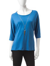Notations Blue High-lo Hem Top