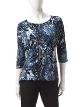 Notations Blue Snakeskin Print Top