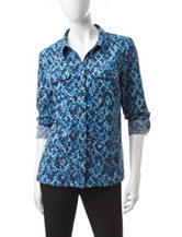 Notations Multi Tonal Blue Dot Print Top
