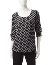 Notations Black & White Diamond Print Top