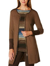 Rafaella Color Block Zip Long Length Cardigan
