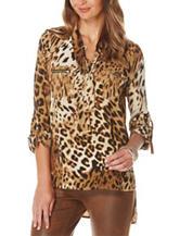 Rafaella Leopard Print Woven Top