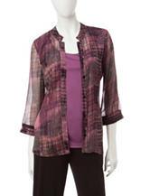 Rebecca Malone Plaid Print Layered-Look Top