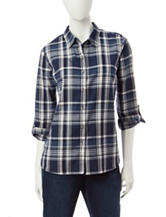 Rebecca Malone Window Pane Plaid Print Top