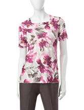 Alfred Dunner Floral Print Ruffle Top