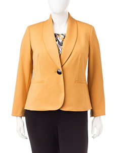 Kasper Plus-size Yellow Structured Jacket