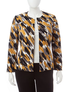 Kasper Plus-size Multicolor Paintbrush Print Jacket