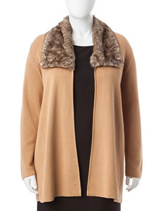 Kasper Plus-size Tan Faux-Fur Cardigan