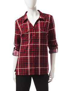 Notations Red Shirts & Blouses