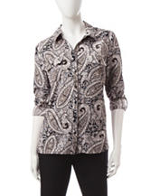 Notations Black & White Paisley Print Top