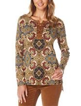 Rafaella Medallion Print Knit Top