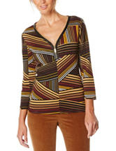 Rafaella Diagonal Stripe Print Knit Top