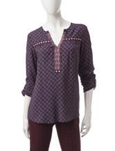 Valerie Stevens Diamond Print Knit Top