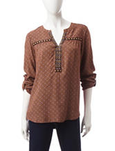 Valerie Stevens Diamond Print Knit Top