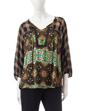 Figuero & Flower Jean Mixed Print Top