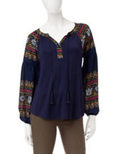 Figuero & Flower Beca Embroidered Peasant Top