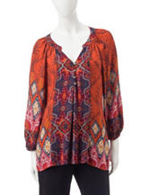 Figuero & Flower Clara Mixed Print Peasant Top