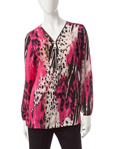 Zac & Rachel Pink Multi Shirts & Blouses