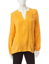 Zac & Rachel Yellow Pintuck Top