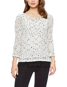 Skies The Limit White Open Knit Lace Hem Sweater