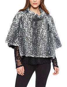 Skyes The Limit Faux Fur Leopard Print Poncho