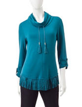 Ruby Road Teal Fringe Hem Top