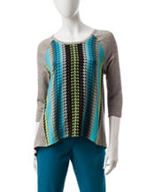 Ruby Road Multicolor Mixed Print Top