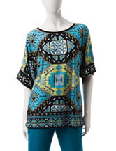 Ruby Road Multicolor Embellished Aztec Print Top