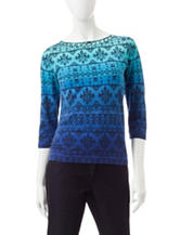 Ruby Road Blue Ombre Jacquard Print Top