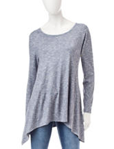 Hannah Marled Faux Suede Top