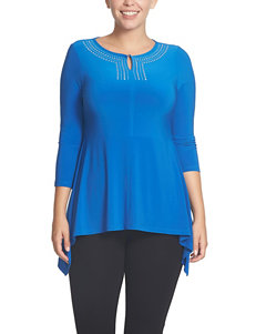 Chaus Blue Embellished Top