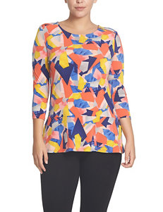 Chaus Abstract Print Zip Knit Top