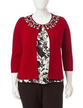 Kasper Jeweled Knit Cardigan
