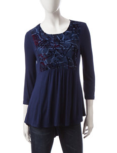 Hannah Velvet Floral Embroidered Bib Top