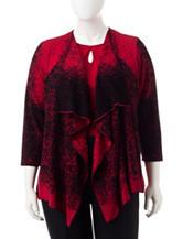 Kasper Plus-size Red & Black Speckled Print Cardigan